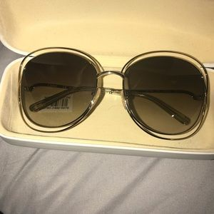 Chloe gold round square sunglasses.
